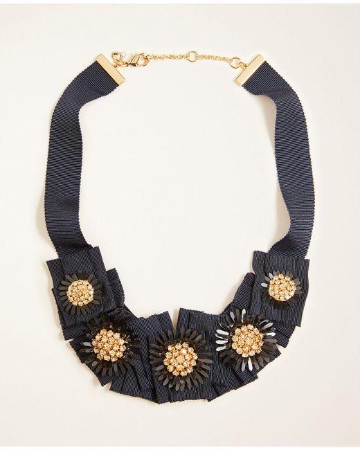 Ann Taylor Blue Crystal Ribbon Necklace