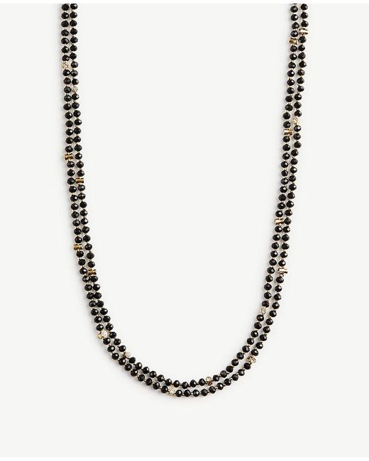 Ann Taylor | Black Beaded Layering Necklace | Lyst