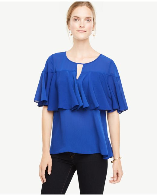 Ann Taylor | Blue Tiered Ruffle Top | Lyst