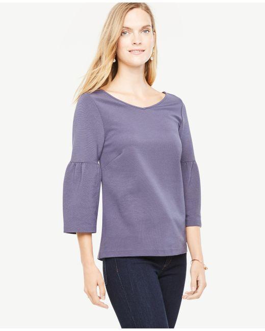Ann Taylor | Purple Lantern Sleeve Double V Top | Lyst