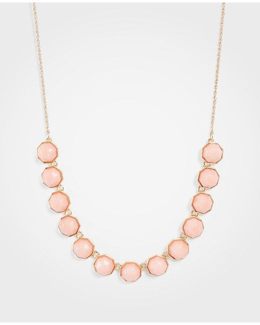 Ann Taylor - Multicolor Hexagon Stone Slider Necklace - Lyst