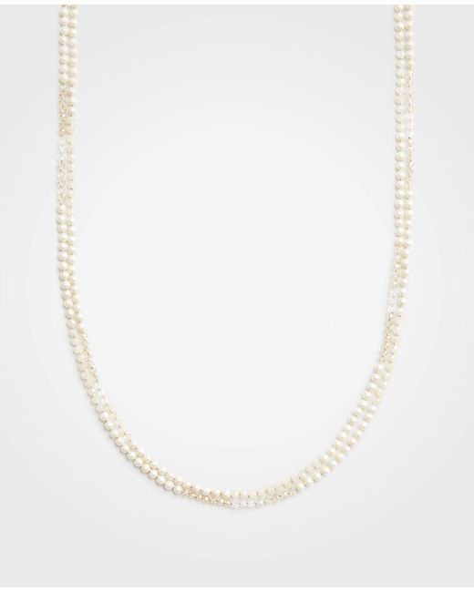 Ann Taylor - White Pearlized Layering Necklace - Lyst