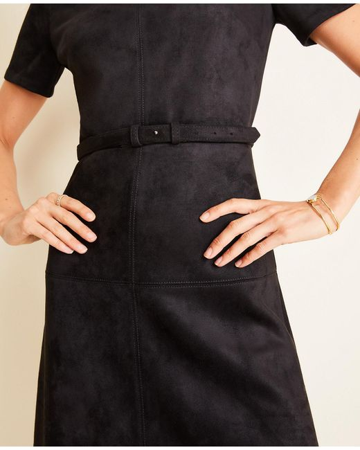 Ann Taylor Tall Faux Suede Belted Flare Dress In Black Lyst