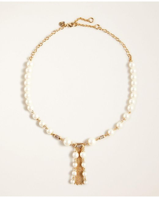 Ann Taylor Metallic Pearlized Pave Tassel Necklace