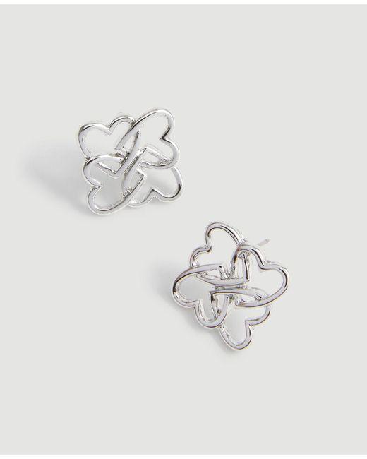 Ann Taylor Metallic Heart Stud Earrings