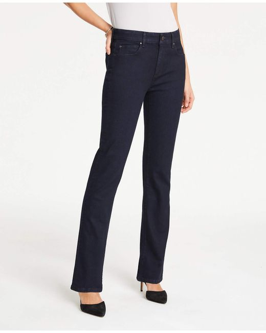 Ann Taylor Blue Straight Leg Jeans In Evening Sea Wash