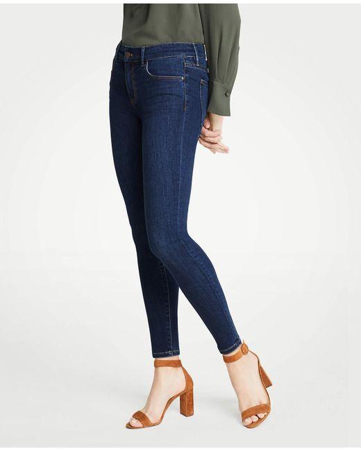 Ann Taylor Blue Tall Curvy Performance Stretch Skinny Jeans In Mid Indigo Wash