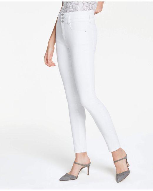 Ann Taylor High Rise Performance Denim Skinny Jeans In White