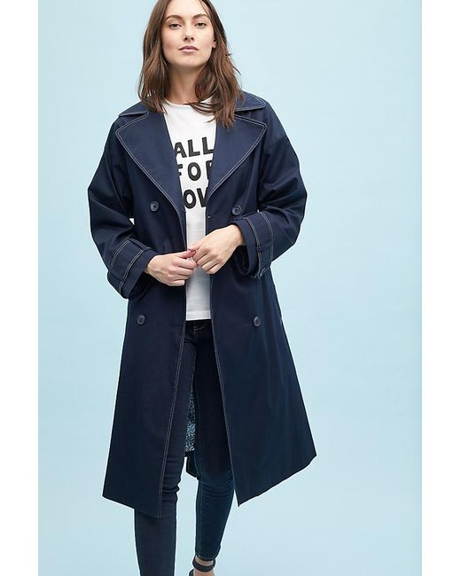 Helene Berman - Blue Dottir Contrast-stitch Trench Coat - Lyst