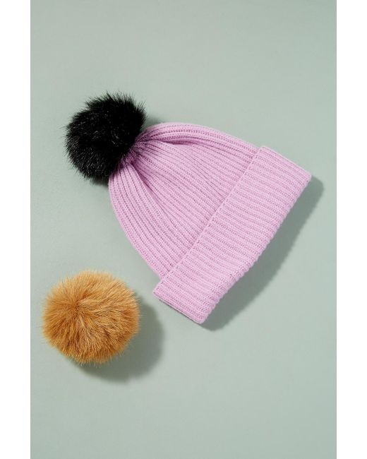 Anthropologie | Purple Wool And Cashmere 2 Pom Beanie | Lyst