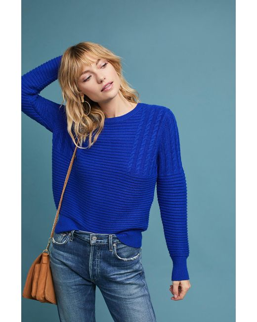 Heartloom | Blue Cabled Crew Neck Pullover | Lyst