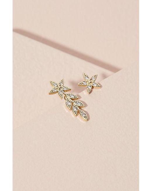 Anthropologie Metallic Jewelled Floral Earrings