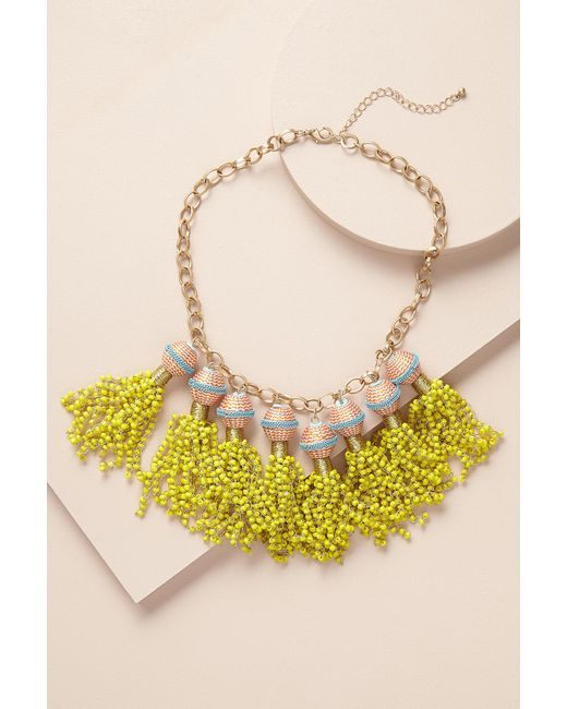 Anthropologie | Yellow Ava Tassel Drop Necklace | Lyst