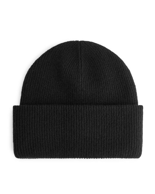 ARKET Black Wool Beanie for men
