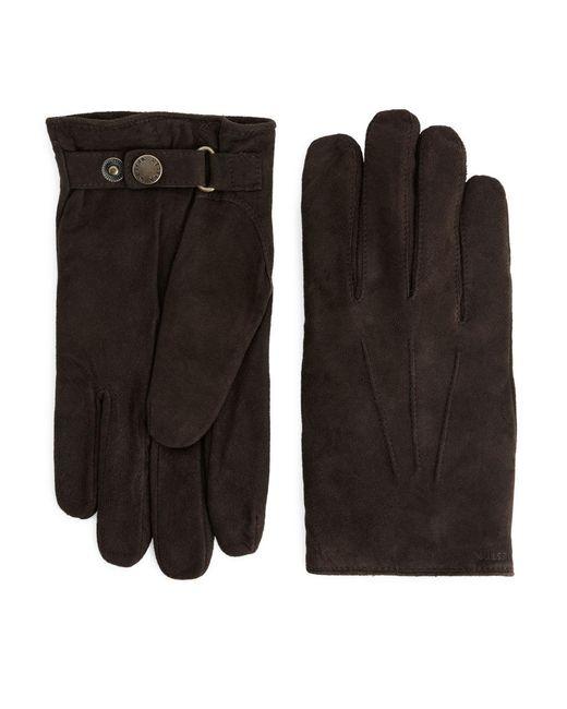 Hestra Brown Robert Suede Gloves for men