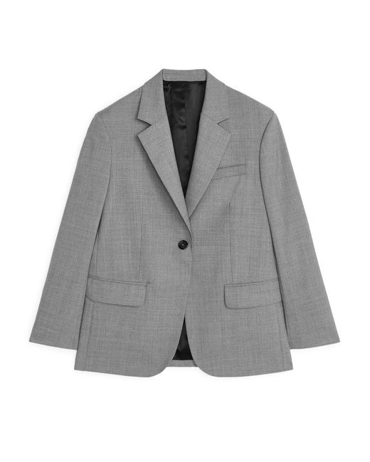 Women's Grey Oversized Wool Hopsack Blazer