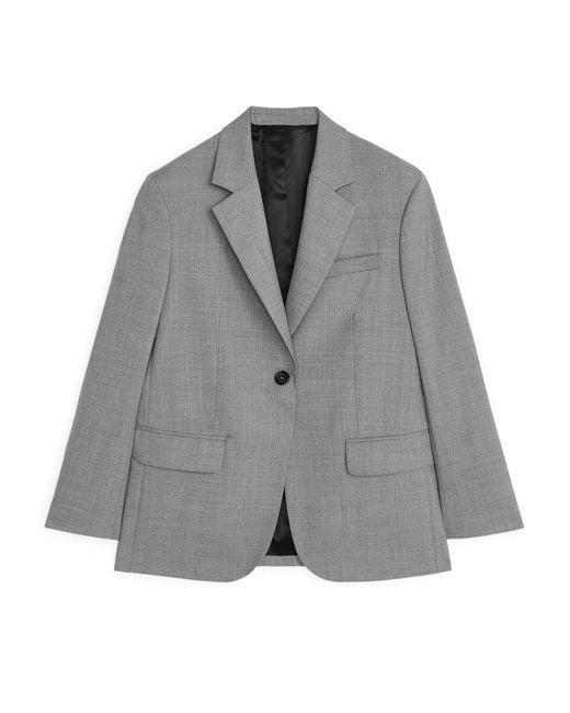 Women's Gray Oversized Wool Hopsack Blazer