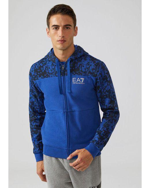 Emporio Armani - Blue Hoodie for Men - Lyst