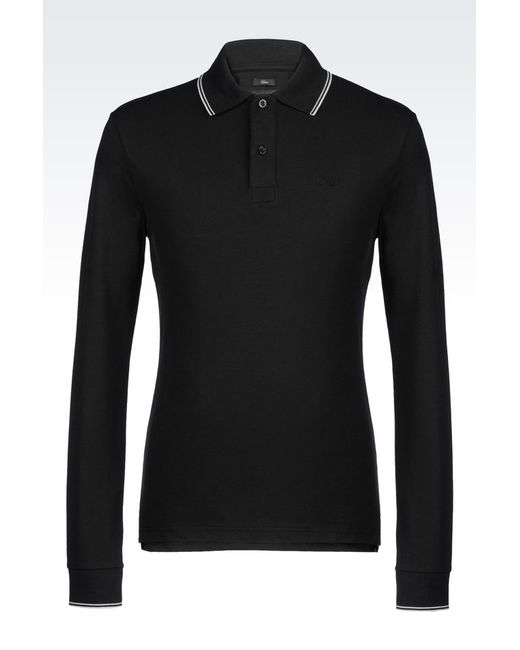 Armani Jeans | Black Long-sleeved Polo for Men | Lyst