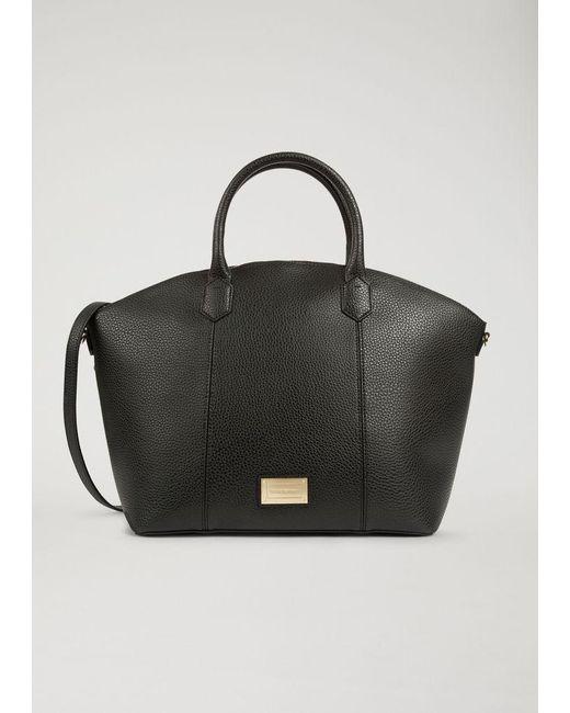abe328471035 Emporio Armani - Black Top Handle Grainy Dome Handbag Big Handbag - Lyst ...
