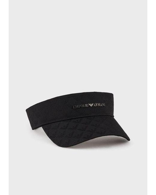 Visière en tissu jacquard monogramme Emporio Armani pour homme en coloris Black
