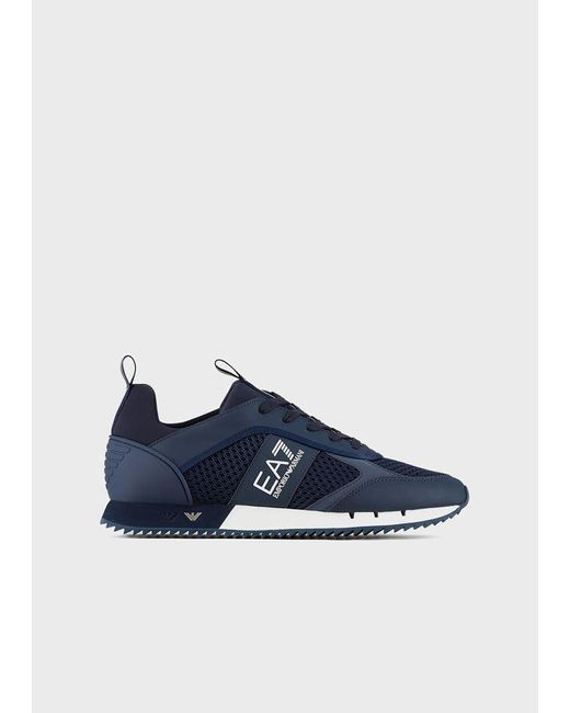 Emporio Armani Blue Sneaker Black&White Laces aus Mesh mit Metall-Logos an der Sohle
