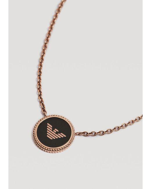 Emporio Armani Metallic Stainless Steel Necklace With Logo Charm