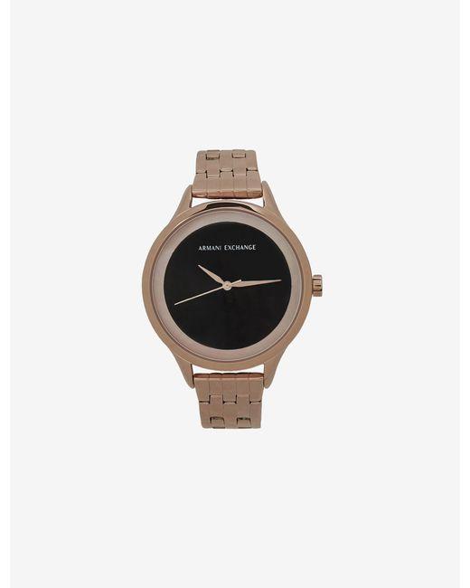 Armani Exchange Metallic Matte Black And Rose Gold-toned Bracelet Watch