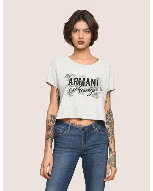 Armani Exchange - Gray Line Art Floral Cropped Tee - Lyst