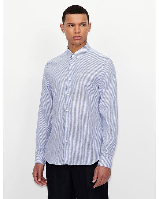 Camisa de rayas Armani Exchange de hombre de color Blue