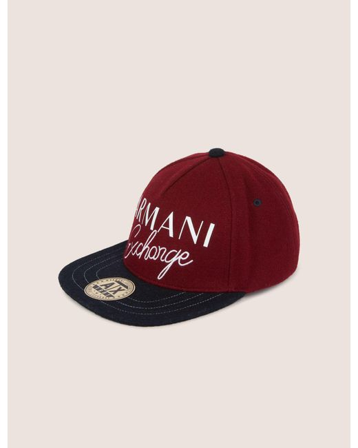 f4cfb6790c3 Lyst - Armani Exchange Embroidered Script Logo Hat in Red for Men