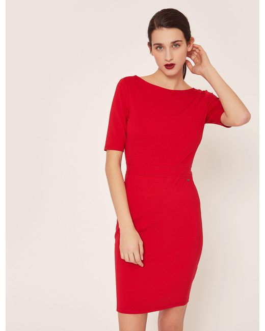 Lyst Armani Exchange Boatneck Scoop Back Bodycon Dress In Red