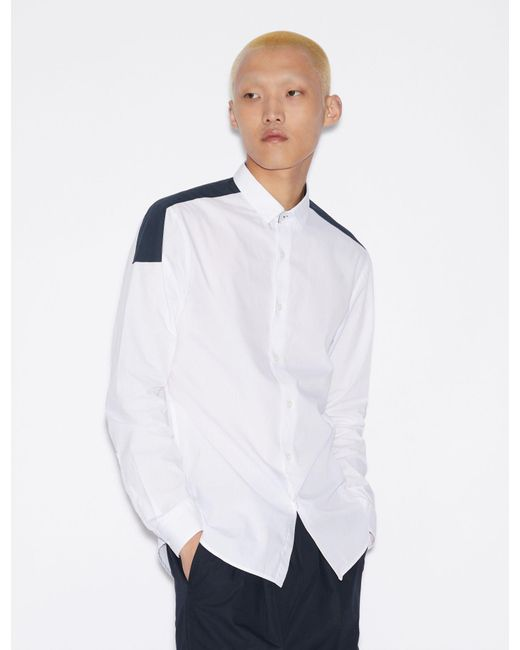 469616bf67 Men's White Shirt With Contrasting Band