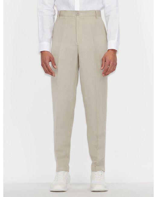 Pantaloni classici in lino e viscosa di Armani Exchange in Natural da Uomo