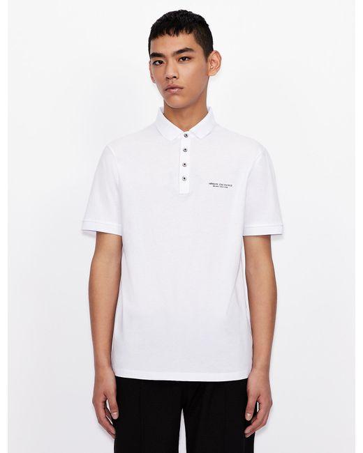 Polo regular fit con scritta logo di Armani Exchange in White da Uomo