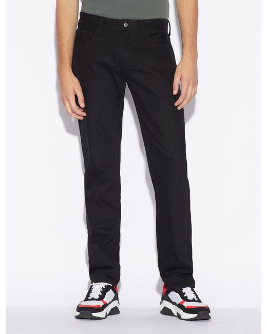 Armani Exchange Black Straight-leg Five-pocket Jeans for men