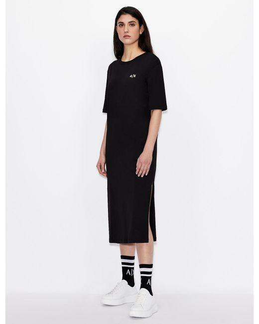 Vestido-camiseta de algodón orgánico Armani Exchange de color Black