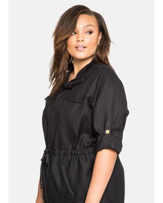 Ashley Stewart Drawstring Waist Linen Jacket In Black