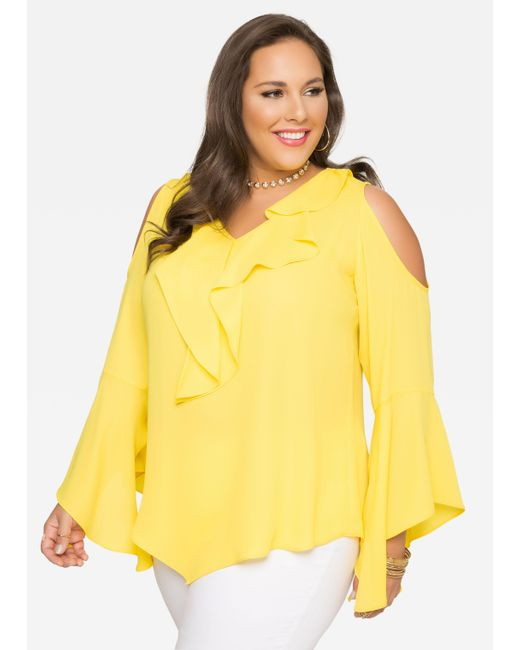 Ashley Stewart Ruffle Cold Shoulder Blouse In Yellow