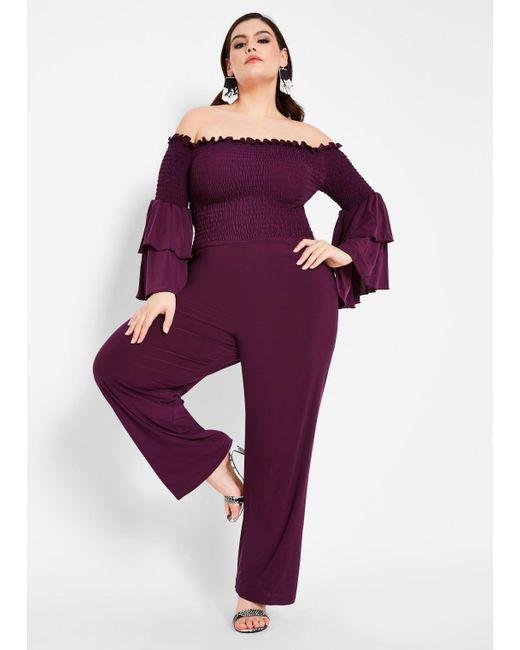 1df76e7908df Ashley Stewart - Purple Plus Size Smocked Top Off Shoulder Jumpsuit - Lyst