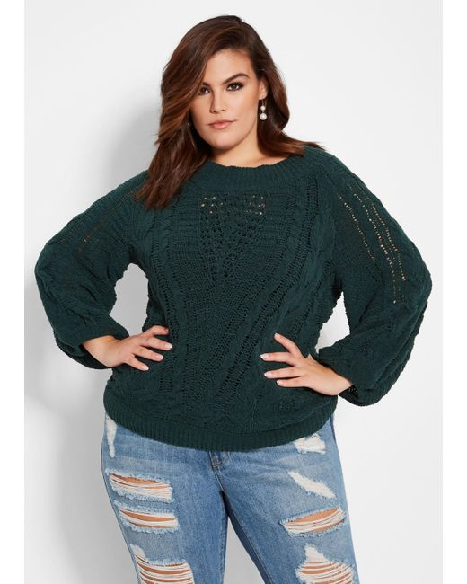 Ashley Stewart - Green Plus Size Chenille Cable Knit Sweater - Lyst