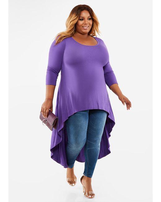 042c160a2f7 Lyst - Ashley Stewart Plus Size Solid Hi Lo Maxi Duster in Purple
