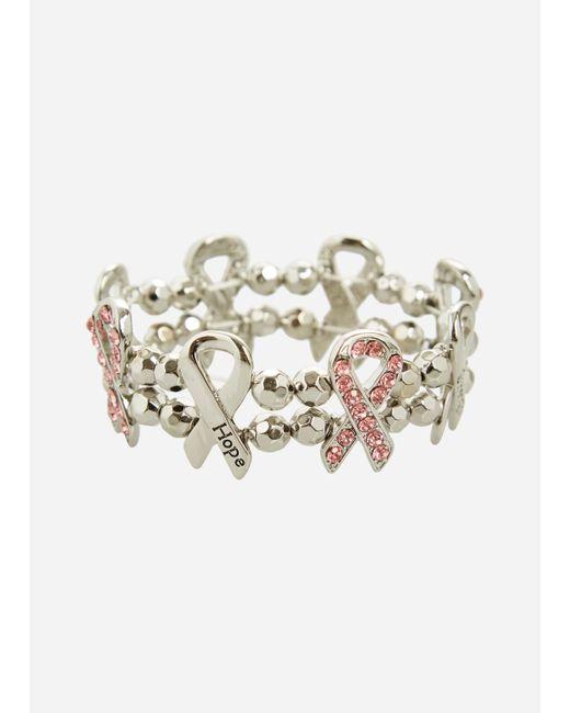 Ashley Stewart - Pink Asgives Breast Cancer Awareness Ribbon Stretch Bracelet - Lyst
