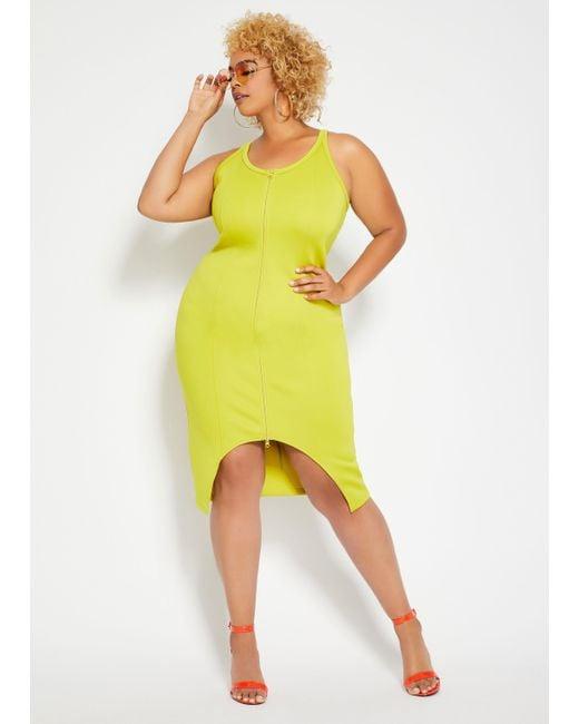 Women\'s Yellow Plus Size Me By Emme® Zip Front Scuba Knit Dress