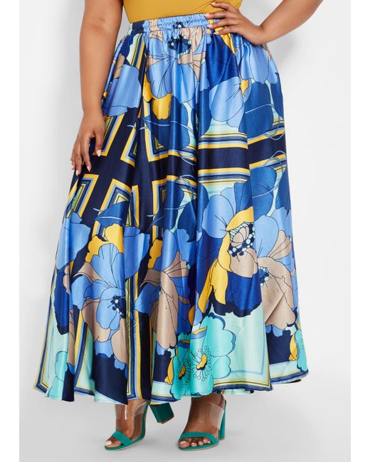 9020d7fc55b Lyst - Ashley Stewart Plus Size Oversized Floral Satin Maxi Skirt in ...