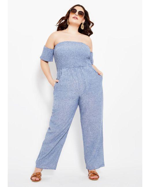 bc144676ce5b7 Lyst - Ashley Stewart Plus Size Smock Top Wide Leg Jumpsuit in Blue