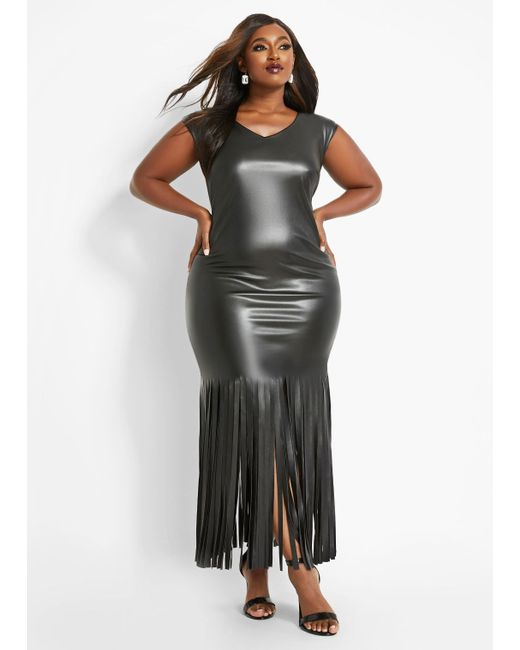 Plus Size Faux Leather Fringe Dress