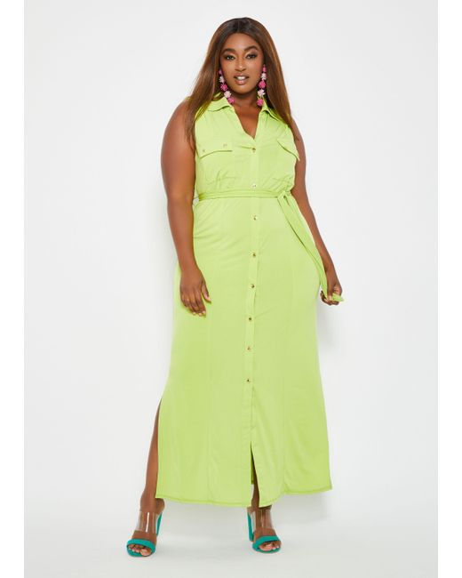 Women\'s Green Plus Size Button Front Belted Maxi Dress