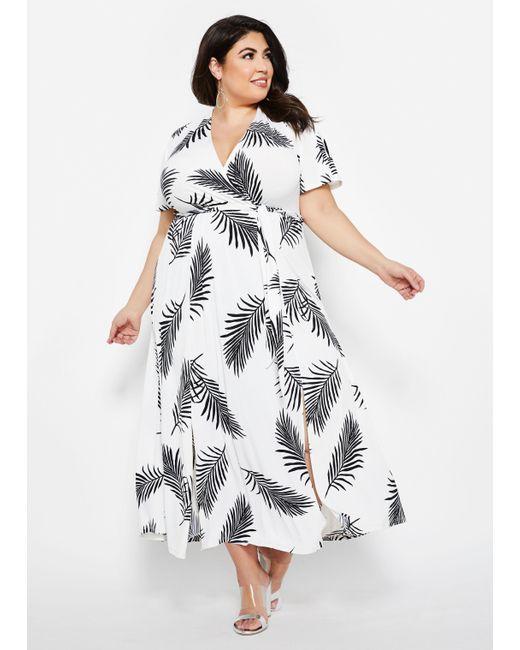 Women\'s White Plus Size Feather Print Front Slit Maxi Dress
