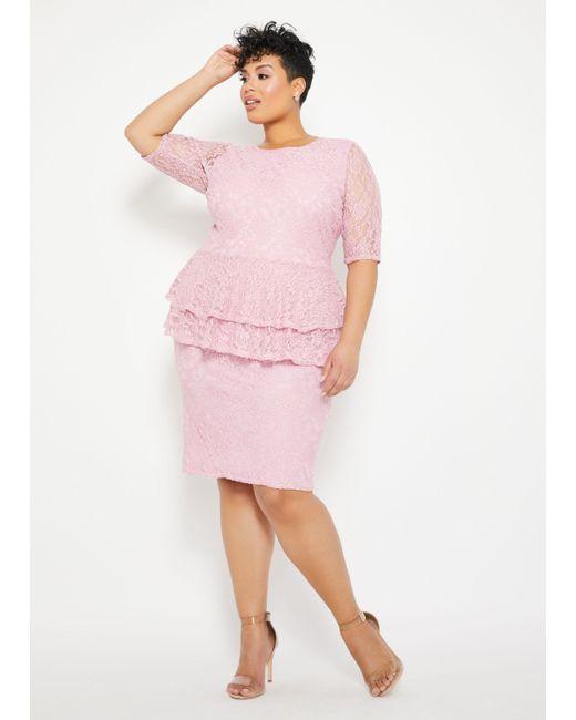 Women\'s Pink Plus Size Lace Two Tier Peplum Dress
